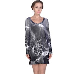 Black and White Rose Long Sleeve Nightdresses