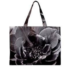 Black and White Rose Zipper Tiny Tote Bags