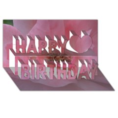 Pink Rose Happy Birthday 3d Greeting Card (8x4)