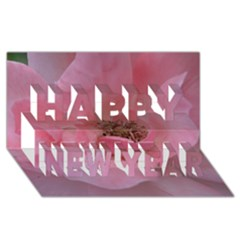 Pink Rose Happy New Year 3d Greeting Card (8x4)