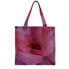 Pink Rose Zipper Grocery Tote Bags