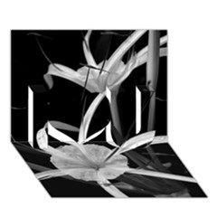 Exotic Black And White Flowers I Love You 3d Greeting Card (7x5)