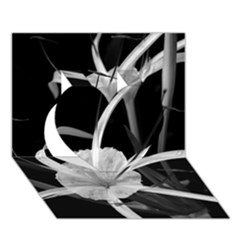 Exotic Black and White Flowers Heart 3D Greeting Card (7x5)