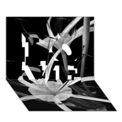 Exotic Black and White Flowers LOVE 3D Greeting Card (7x5)