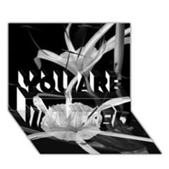 Exotic Black and White Flowers YOU ARE INVITED 3D Greeting Card (7x5)