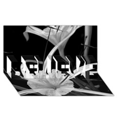 Exotic Black and White Flowers BELIEVE 3D Greeting Card (8x4)