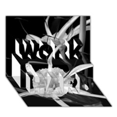 Exotic Black And White Flowers Work Hard 3d Greeting Card (7x5)
