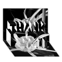 Exotic Black and White Flowers THANK YOU 3D Greeting Card (7x5)