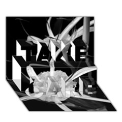 Exotic Black and White Flowers TAKE CARE 3D Greeting Card (7x5)