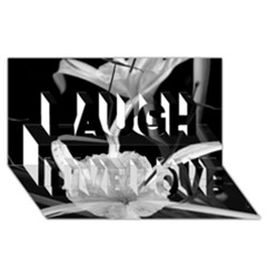 Exotic Black and White Flowers Laugh Live Love 3D Greeting Card (8x4)