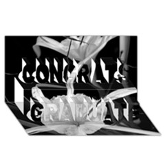 Exotic Black And White Flowers Congrats Graduate 3d Greeting Card (8x4)