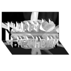 Exotic Black And White Flower 2 Happy Birthday 3d Greeting Card (8x4)