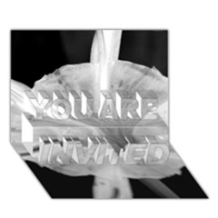 Exotic Black And White Flower 2 You Are Invited 3d Greeting Card (7x5)