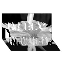 Exotic Black and White Flower 2 Happy New Year 3D Greeting Card (8x4)