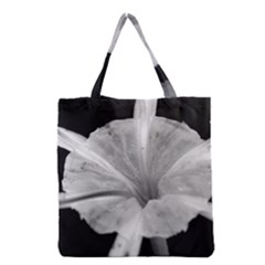 Exotic Black And White Flower 2 Grocery Tote Bags
