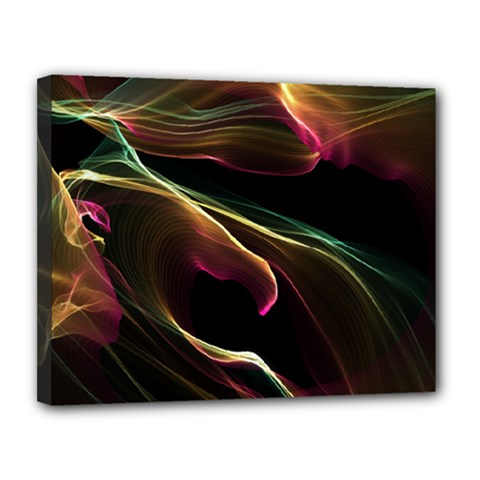 Glowing, Colorful  Abstract Lines Canvas 14  X 11