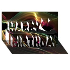 Glowing, Colorful  Abstract Lines Happy Birthday 3d Greeting Card (8x4)