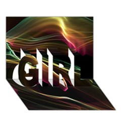 Glowing, Colorful  Abstract Lines Girl 3d Greeting Card (7x5)