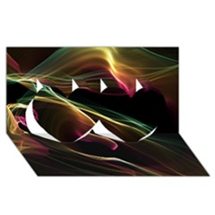 Glowing, Colorful  Abstract Lines Twin Hearts 3D Greeting Card (8x4)