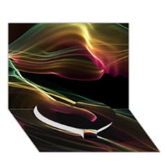 Glowing, Colorful  Abstract Lines Heart Bottom 3d Greeting Card (7x5)