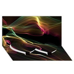 Glowing, Colorful  Abstract Lines Twin Heart Bottom 3d Greeting Card (8x4)