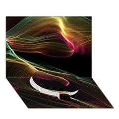 Glowing, Colorful  Abstract Lines Circle Bottom 3D Greeting Card (7x5)