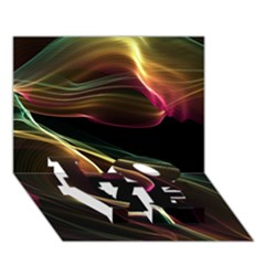 Glowing, Colorful  Abstract Lines Love Bottom 3d Greeting Card (7x5)