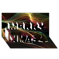 Glowing, Colorful  Abstract Lines Merry Xmas 3D Greeting Card (8x4)