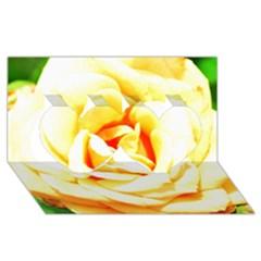 Orange Yellow Rose Twin Hearts 3D Greeting Card (8x4)