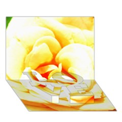 Orange Yellow Rose LOVE Bottom 3D Greeting Card (7x5)
