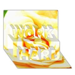 Orange Yellow Rose WORK HARD 3D Greeting Card (7x5)