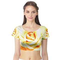 Orange Yellow Rose Short Sleeve Crop Top