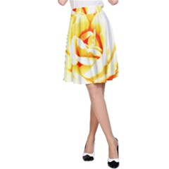 Orange Yellow Rose A-Line Skirts