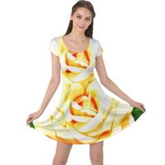 Orange Yellow Rose Cap Sleeve Dresses