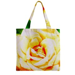 Orange Yellow Rose Zipper Grocery Tote Bags