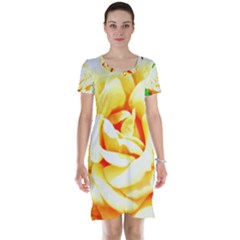 Orange Yellow Rose Short Sleeve Nightdresses