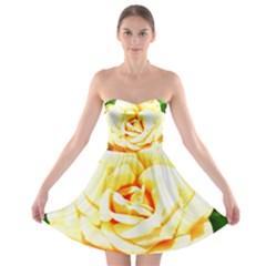 Orange Yellow Rose Strapless Bra Top Dress