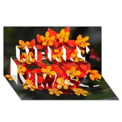 Orange and Red Weed Merry Xmas 3D Greeting Card (8x4)