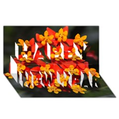 Orange and Red Weed Happy New Year 3D Greeting Card (8x4)