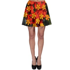 Orange And Red Weed Skater Skirts