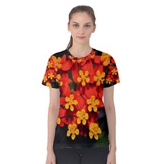 Orange And Red Weed Women s Cotton Tees