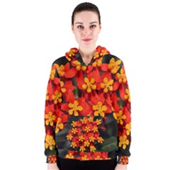Orange and Red Weed Women s Zipper Hoodies