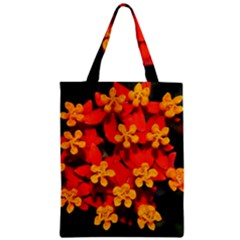 Orange and Red Weed Zipper Classic Tote Bags