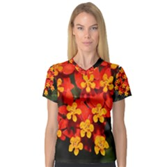 Orange And Red Weed Women s V Neck Sport Mesh Tee