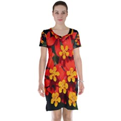 Orange and Red Weed Short Sleeve Nightdresses