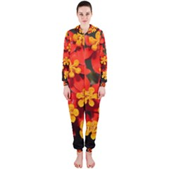 Orange and Red Weed Hooded Jumpsuit (Ladies)