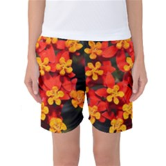 Orange and Red Weed Women s Basketball Shorts