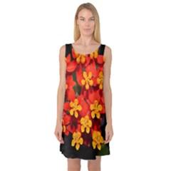 Orange and Red Weed Sleeveless Satin Nightdresses