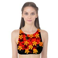Orange and Red Weed Tank Bikini Top