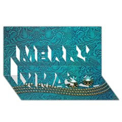 Wonderful Decorative Design With Floral Elements Merry Xmas 3D Greeting Card (8x4)